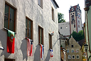 Europe, germany, bavaria, fussen, flag, flags, world cup, window, windows, architecture.