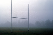 Australia, New South Wales, blue mountains, great dividing range, footballgoal post, goal posts, goalpost, goalposts, mist, misty, football ground, football grounds, oval, ovals.