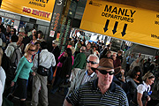 New South Wales, Australia, Sydney, ferry, ferries, people, transport, transportation, vehicle, vehicles, crowd, crowds, commuter, commuters, sign, signs, manly.