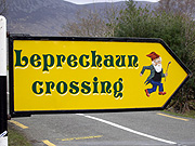 Ireland, sign, signs, road sign, road signs, roadsign, roadsigns, leprechaun, leprechaun, elf, elves, BS65,