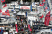 Australia, New South Wales, sydney, darling harbour, boat, boats, boating, boat show, boat shows, sign, signs, flag, flags, show, shows, entertainment, crowd, crowds.