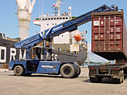 Nigeria, crane, cranes, machinery, transport, transportation, vehicle, vehicles, ship, ships, shipping, vessel, vessels, container, containers, truck, trucks, AB67,