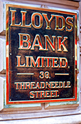Europe, Western Europe, UK, Britain, British Isles, England, United Kingdom, Great Britain, london, bank, banks, sign, signs, threadneedle, lloyds, lloyds bank, brass, plaque, plaques, AB67,
