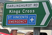 Australia, New South Wales, sign, signs, the cross, kings cross, darlinghurst, hospital, hospitals, emergency, emergencies, st vincents hospital, saint vincent hospital.