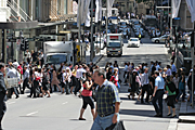 Australia, New South Wales, sydney, crowd, crowds, pedestrian, pedestrians, road, roads, sealed, sealed road, sealed roads, truck, trucks, people.