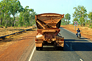 Australia, transport, transportation, vehicle, vehicles, heavy vehicle, heavy vehicles, truck, trucks, road train, road trains, roadtrain, roadtrains, sign, signs, road, roads, sealed, sealed road, sealed roads, tree, trees, sign, signs, motorbike, motorbikes, transport, transportation, vehicle, vehicles.