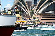 Australia, New South Wales, sydney, Australia Day, Celebration, Celebrations, Australia day celebrations, people, ferry, ferries, boat, boats, boating, vehicle, vehicles, vehicle, vehicles, sign, signs, opera house, harbour, harbours, sydney harbour, sydney opera house.
