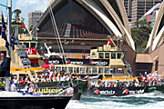 Australia, New South Wales, sydney, Australia Day, Celebration, Celebrations, Australia day celebrations, people, ferry, ferries, boat, boats, boating, vehicle, vehicles, sign, signs, opera house, sydney opera house, harbour, harbours, sydney harbour.