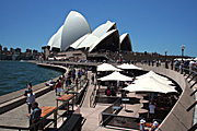 Australia, New South Wales, sydney, architecture, opera house, sydney opera house, café, cafes, umbrella, umbrellas, crowd, crowds.