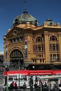 Australia, Victoria, Vic, architecture, arch, arches, archway, archways, Melbourne, Flinders Street, Flinders Street Station, Flinders Street Railway Station, Rail, transport, transportation, vehicle, vehicles, railway station, railway stations, rail, station, stations, tram, trams, dome, domes.