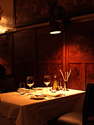 Restaurant, restaurants, table, tables, furniture, glasses, wine, wine glass, wine glasses, light, lights, lighting, electricity, Romeo,