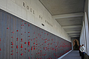 Australia, act, australian capital territory, territory, territories, Canberra, great dividing range, architecture, memorial, memorials, war memorial, war memorials, australian war memorial, wall, walls, roll of honour, honour, honours, poppy, poppies.