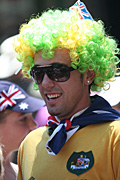 Australia, New South Wales, sydney, Australia Day, Celebration, Celebrations, Australia day celebrations, people, child, children, puberty, flag, flags, australian, australian flag, australian flags, wig, wigs, teenager, teenagers, adolescent, adolescents, sunglasses, badge, badges.