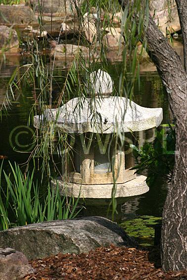Japanese pagoda waterlily pond botanical gardens for Garden features australia