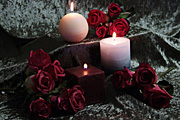Candle, candles, flame, flames, velvet, rose, roses, red, red flower, red flowers, red rose, red roses.