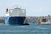 Australia, New South Wales, sydney, harbour, harbours, sydney harbour, ship, ships, shipping, fort denison, pinchgut, car, cars, transport, transportation, vehicle, vehicles, emden, freighter, freighters.