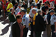 Police, police force, emergency service, emergency services, law, law enforcer, law enforcement, law and order, Australia, New South Wales, sydney, rally, rallies, protest, protests, signs, sign, electricity, darling harbour, protester, protesters, demonstration, demonstrations.
