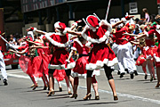 Australia, New South Wales, sydney, parade, parades, christmas, christmas scene, christmas scenes, female, females, girl, girls, woman, women, people.