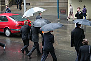 Australia, New South Wales, sydney, rain, rains, raining, wet, umbrella, umbrellas, people, pedestrian, pedestrians, road, roads, sealed, sealed road, sealed roads, transport, car, cars, men, man.