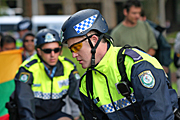 Australia, New South Wales, police, police force, emergency service, emergency services, law, law enforcer, law enforcement, law and order, helmet, helmets, sydney, people, apec, apec demonstration, demonstrator, demonstrators, demonstration, demonstrations, protest, protests, asia pacific economic cooperation.