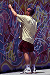 People, man, men, male, males, wall, walls, mural, murals, art, artwork, spray, sprays, spraying, sydney, nsw, new South Wales, australia, people, wall mural, wall murals, painting, paintings, wall painting, wall paintings, outdoors.