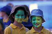 People, child, children, puberty, australia, new South Wales, sydney, olympic, olympics, child, children, girl, girls, female, females, teenager, teenagers, teenage girl, teenage girls, face painting, hat, hats.