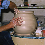 Man, Men, Male, Males, new, empty, Potter, Potters, pottery, pottery making, craft, crafts, hand, hands, pottery wheel, pottery wheels, clay, clay pot, clay pots, australia, indoors, pot, pots.