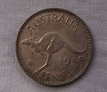 Animal, Animals, Australia, Australian currency, Australian coins, coin, coins, early coin, early coins, penny, pennies, early penny, early pennies, old penny, old pennies, Australian penny, Australian pennies, 1948 Penny, Australian 1948 Penny, George Kruger Gray, George Gray, old coin, old coins, kangaroo, kangaroos.