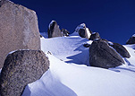 Australia, New South Wales, kosciusko, great dividing range, kosciusko NP, kosciusko national park, snow, snow scene, snow scenes, winter, winter scene, winter scenes, snowy mountains, rock, rocks.