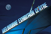 Australia, Vic, Victoria, Melbourne, architecture, night, nights, evening, evenings, moon, moons, the moon, sign, signs, exhibition centre, melbourne exhibition centre, FF25,