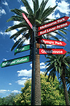 Sign, signs, signpost, Vic, australia, melbourne, tennis centre, palm tree, palm trees, FF25,