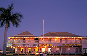Australia, qld, queensland, normanton, pub, pubs, purple pub, hotel, hotels, architecture, tree, trees, palm, palms, palm tree, palm trees.