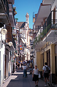 Spain, costa dorada, sitges, street, streets, narrow street, narrow streets, spanish street, spanish streets, balcony, balconies, people, shop, shops, FF25,