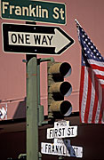 Sign, signs, road sign, road signs, usa, one way, america, united states, napa valley, highway, highways, california, road, roads, flag, flags, american, american flag, american flags, arrow, arrows, light, lights, traffic light, traffic lights, FF25,