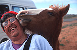 Man, Men, Male, Males, Animal, Animals, Horse, horses, people and animals, glasses, pair of glasses, spectacles, pair of spectacles, eye, eyes, hat, hats, australia, northern territory, nt, people, outdoors, smile, smiles, smiling, happy, happiness, portrait, portraits, people.