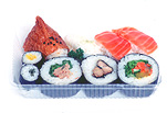 Food, sushi, japanese food, fish, rice, container, containers, plastic, plastic container, plastic containers.