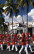 Caribbean, the caribbean, carribean islands, martinique, port de france, palm, palms, palm tree, palm trees, carnival, carnivals, festival, festivals, people, march, marches, marching, FF25,
