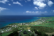 Caribbean, Caribbean Islands, Saint Kitts, St Kitts, Brimstone Hill, Brimstone Hill Fortress, Fort, Forts, Fortress, Fortresses, hill, hills, green hill, green hills, coast, coasts, coastline, coastlines, cloud, clouds, FF25,