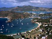 Caribbean, the caribbean, carribean islands, harbour, harbours, english harbour, antigua, shirley heights, yacht, yachts, moored, moored yacht, moored yachts, coast, coasts, coastline, coastlines, FF25,