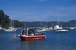 Australia, New South Wales, Sydney, Pittwater, boat, boats, boating, moored boat, moored boats, coffee shop, coffee shops.