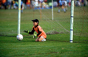 Sport pictures, Sports, football, soccer, soccer game, soccer games, child, children, goal, goals, goalkeeper, goalkeepers, goal post, goal posts, goalpost, goalposts, hat, hats, australia, male, males, outdoors, ball, balls.