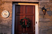 Architecture, house, houses, housing, door, doors, wreath, wreaths, christmas, christmas scene, christmas scenes, cottage, cottages, lamp, lamps, light, lights, lighting.
