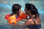 Child, children, baby, babies, infant, infants, mother, mothers, female, females, pool, pools, swimming pool, swimming pools, flotation, flotation aid, flotation aids, outdoors, swim, swims, swimming, safety, child safety, woman, women, outdoors, family, families, livesaving, water safety, safety, Australia, Sport pictures, Sports, balloon images, hot air balloons