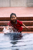 People, child, children, female, females, girl, girls, asian girl, asian girls, asian child, asian children, asian, asians, asian people, pond, ponds, sydney, nsw, new South Wales, australia, water, step, steps, happy, happiness, smile, smiles, smiling.