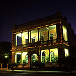 Australia, queensland, qld, charters towers, architecture, hall, halls, town hall, town halls, balcony, balconies, evening, night, nights, light, lights, electricity.