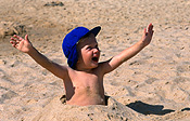 Child, children, boy, boys, male, males, beach, beaches, hat, hats, smile, smiles, smiling, happy, happiness, sand, JP,