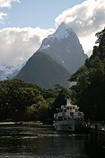 Pacific islands, new zealand, south island, milford sound, mountain, mountains, fiordland, fiordlands, boat, boats, boating, dock, docks, wharf, wharves.
