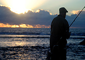 Sport pictures, Sports, fishing, man, men, male, males, mood, mood scene, mood scenes, sunset, sunsets, sunrises and sunsets, hat, hats, elderly, old, aged, elderly man, elderly men, elderly people, people, old man, old men, old people.