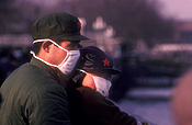 Asia, china, people, man, men, male, males, mask, masks, pollution, air, air pollution, uniform, uniforms, hat, hats, child, children, man, men, male, males.