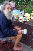 People, man, men, male, males, homeless, homeless people, homeless man, homeless men, derelict, derelicts, australia, sydney, nsw, new South Wales, beard, beards, cup, cups, mug, mugs.